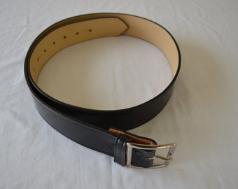 on sale Vintage BLACK LEATHER BELT made in usa Top Grain Cowhide workwear