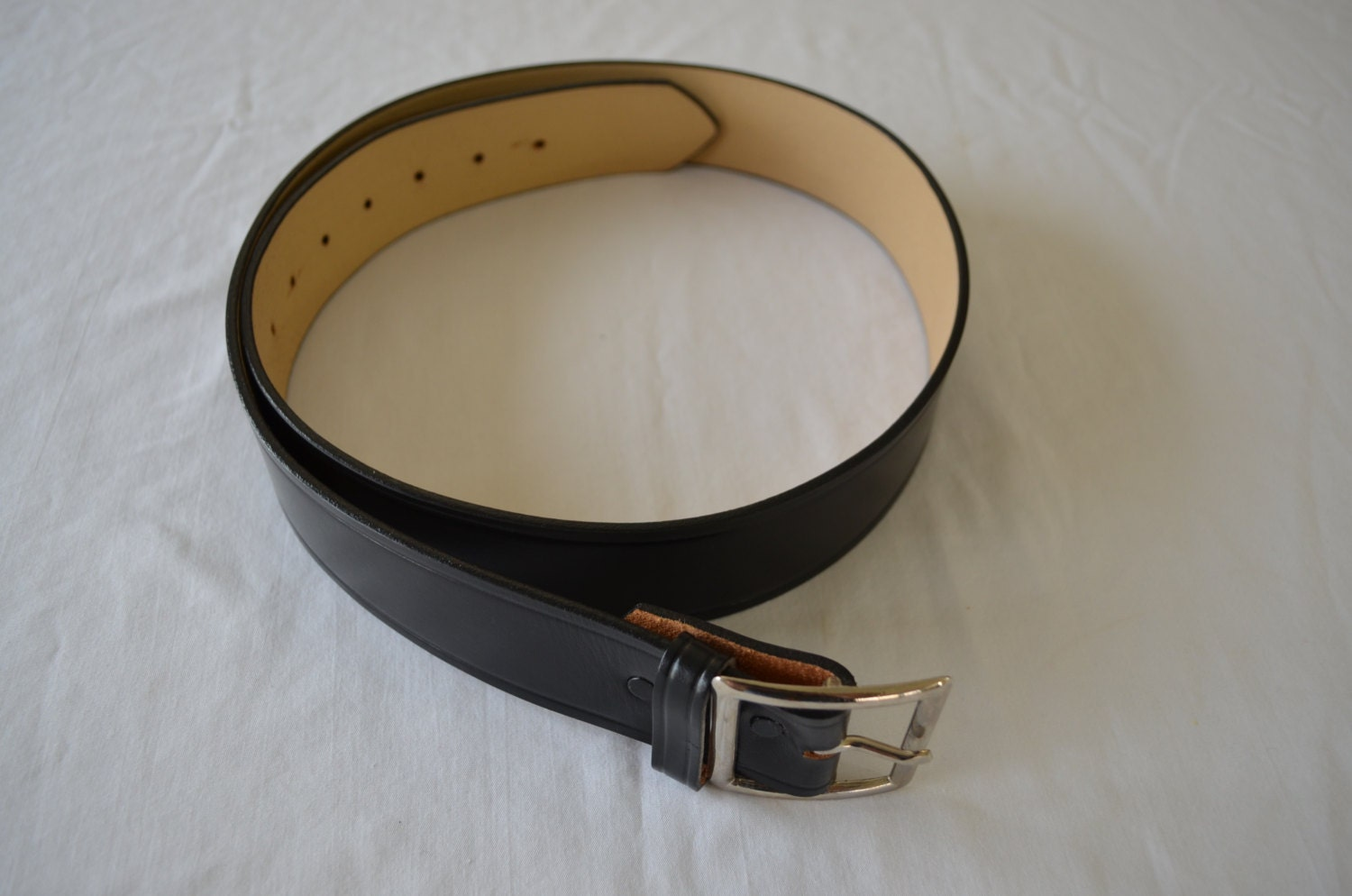 last chance vintage black leather belt made in usa top grain