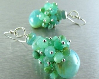 25OFF Peruvian Opal and Chrysoprase Sterling Silver Cluster Earring