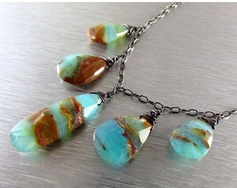 25% Off Peruvian Opal And Oxidized Sterling Silver Necklace