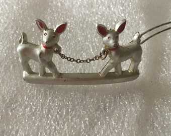 vintage hair barrette ,Fantastic and very unique deer , silver tone with tiny chari