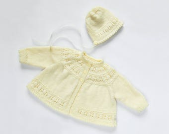 Traditional Style Baby Matinee Coat & Hat Set - Ivory - Hand Knit Baby Cardigan.