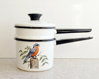 enameled double boiler pot set with hand colored birds dela ware by delano studios, collectible enamelware, songbird pattern, small pot set
