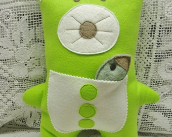 Plush Bear, Pillow Bear, Bear and Fish, Chartreuse Wool Bear, Barry and Fishy Fish, Travel Toy