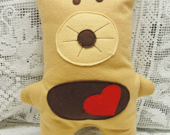 Plush Doll Toy, Bear Pillow, Champagne and Brown Wool, Stuffed Bear, Big Red Heart, Travel Toy