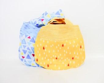 Japanese Knot Bags, Wristlet, Clutch, Mini Handbag, Project Bag, Knitting Bag, Bag, Pouch, Fabric Pouch, Raindrop Japanese Knot Bags