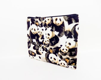 Panda Pouch, Zipper Pouch, Cute Pouch, Fabric Pouch, Pouch, Gift for her, Gift under 20, Change Pouch, Coin Purse, Panda Zipper Pouch