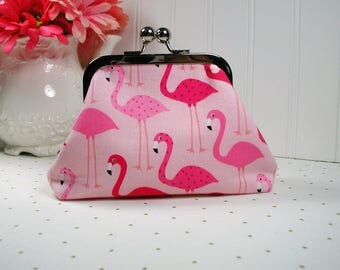 Metal Frame Purse, Frame Purse Clutch, Kiss Lock Purse .. Flamingos in Pink