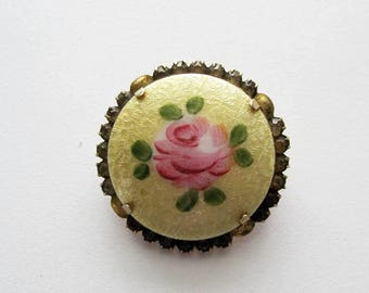 Vintage Guilloche Enamel Brooch with Rose