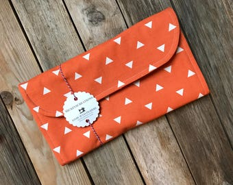 Orange Triangles Diaper Clutch with Changing Pad - Gender Neutral  - Geometric Diaper Clutch - Baby Shower Gift - Boy - Girl - Diaper Pouch
