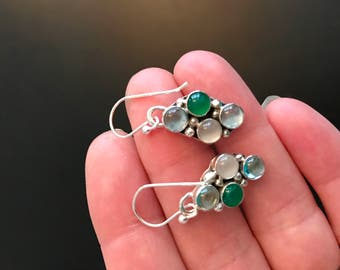 Birthstone earrings. Mothers earrings. Family stones. Favorite colors. Multi stone earrings. mothers day. grandmother. birthday. cabochons.