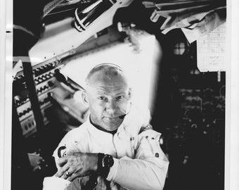 Official release 1969  NASA photo of Apollo -11  astronaut Edwin Aldrin inside  the lunar module
