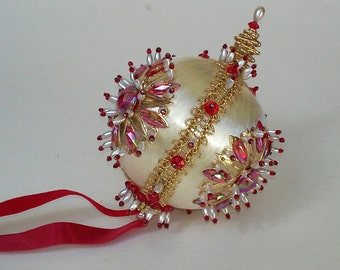 Vintage Beaded Christmas Ornament Cream Off White Satin Beads Gold Hand Made 1970s Retro