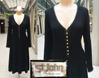 Vintage 1970's St. John Marie Gray Santana Knit and Rhinestone Sexy Wiggle Dress - Large