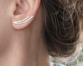 Sale 15% Off Ear climbers, ear cuff, Gift, Girlfriend, Sterling Silver Two curved Lines ear pins, Single or Pair, Minimalist Ear crawlers, G