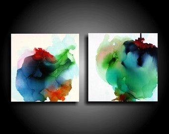 Two Colorful Abstract Paintings Original Painting Modern Canvas Wall Art Zen Painting Gray Navy Burnt Orange Red Art Minimalist