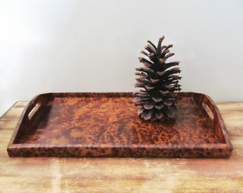 burl wood birds eye maple tray rich brown vintage beverage serving tray with handles
