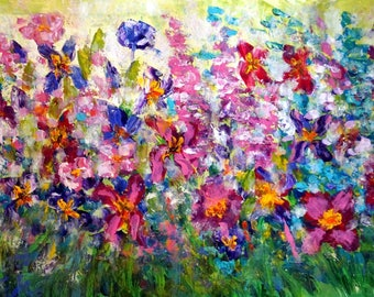 Abstract Floral Impasto Oil Painting PEONIES FLOWERS Contemporary Large Artwork on Canvas by Luiza Vizoli 64x36
