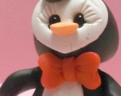 Valentine Day penguin polymer clay figurine