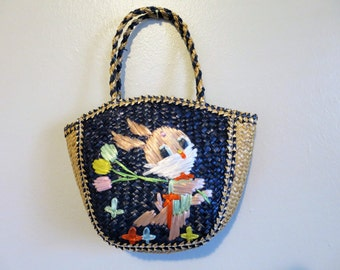Girls Straw Purse with Bunny - Ideal for Easter! 1960s