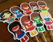Superhero Friends Party Collection - Set of 16 Assorted Superhero Girls Cupcake Toppers by The Birthday House