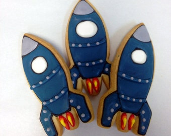 ROCKETSHIP COOKIES, 12 Decorated Sugar Cookies