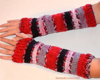 Knit wrist warmers red black stripes Christmas gift