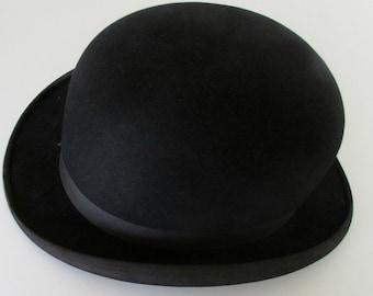 Vintage Bowler Derby Black Charlie Chaplin Laurel and Hardy Watson Size 7 1/4 Mens Hat