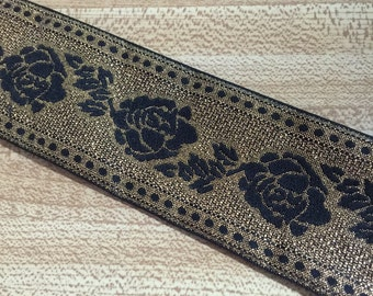 5 yards Black Metallic Gold Rose Jacquard Ribbon Trim Renaissance
