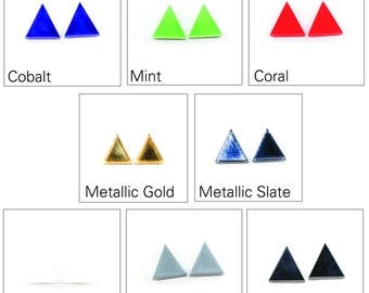 Acrylic Triangle Earrings - Modern Laser Cut Jewelry (Choose Your Color)