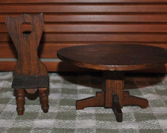 Antique Oak Wood Toy or Doll Table and Chair