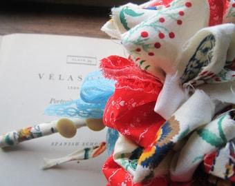 Fabric Wedding Bouquet * Vintage Fabric * Handmade Weddings * Rockabilly weddings * Alternative Flowers * OOAK Ideas * 3 Boutonniere's *
