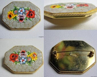 Venetian Micro Mosaic Floral Brooch Pin Marked Italy