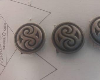 Original True West Button Covers 6 Rockmount Ranch Wear Silver & Black #B536