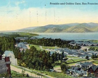 1914 Vintage Postcard - Presidio and Golden Gate (Strait) - San Francisco