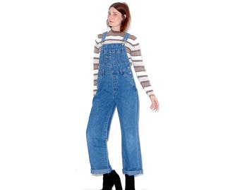 adorable vintage womens overalls denim overalls xs small // 90s grunge 90s clothing mom jeans squeeze jeans womens denim overalls