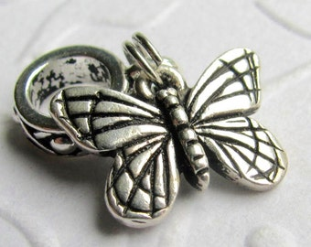 Butterfly big hole bead bracelet charm, TierraCast silver pewter charm, butterfly charm, silver butterfly, garden wings bug insect