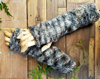 Hand Knit Rustic Fingerless Arm and Hand Warmers in a Variegated Green Black and Brown