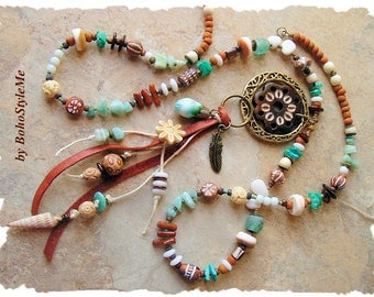 Rustic Earthy Tribal Necklace, Ancient Water Dance, Primitive Assemblage Necklace, Artisan Mixed Media, Bohostyleme