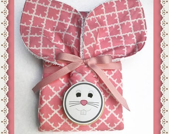 Baby Girl Teething Toy Bunny Ears in Pink with Matching Burp Cloth Gift Set