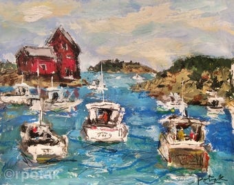 Rockport Harbor, Glouster, Cape Anne fishing cove, maritime sea village  11 x 14, red lobster shed ocean, expressive impressionist  painting