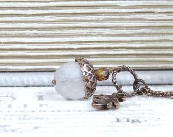 Autumn Acorn Necklace Acorn Charm Necklace Glass Acorn Necklace Fall Necklace Acorn Jewelry