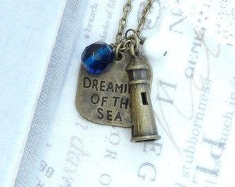 Lighthouse Pendant Necklace Blue Sea Necklace Lighthouse Jewelry Ocean Necklace Lighthouse Gift