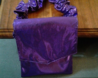 20-32 Inch Fitting Dark Purple Satin Elastic Garter Belt Purse Or I.D. Wallet With Free In-Country Shipping