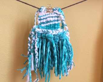 seaweed and pearl kisses - hand woven textile art weaving wallhanging  in aqua green mint and white