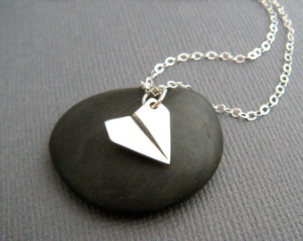 tiny sterling silver paper airplane necklace dainty whimsical origami pendant small aviation plane charm fun jewelry unique gift her 1/2""