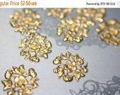 WINTER SALE Raw Brass Full Floral Mini Filigree Ornamental Stampings - 12 pcs