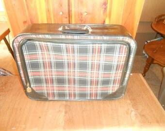 Vintage Luggage Black and Red Plaid Tartan