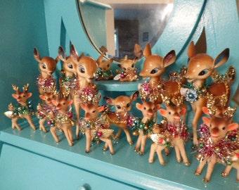 Darling Vintage Hard Plastic Deer for Christmas Tricked Out