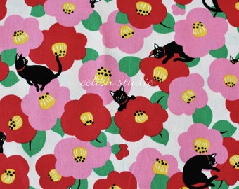 Japanese Fabric Cat Camellia White by the Half Yard